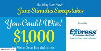 Bobby Bones Show's June Stimulus Sweepstakes Sweepstakes
